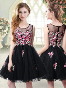 Black Sleeveless Embroidery Mini Length Club Wear