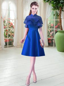 Glorious Royal Blue Satin Lace Up High-neck Cap Sleeves Knee Length Club Wear Ruffled Layers