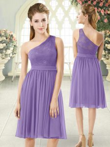 Top Selling Lavender One Shoulder Neckline Lace Cocktail Dress Sleeveless Side Zipper
