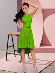 High Quality Sleeveless High Low Zipper Cocktail Dress in Green with Belt
