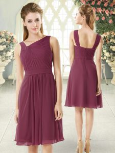 Sweet Burgundy Club Wear Prom and Party with Ruching Asymmetric Sleeveless Zipper
