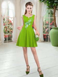 Fashion A-line Cocktail Dress Scoop Satin Sleeveless Mini Length Zipper