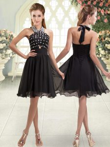Black Cocktail Dress Prom and Party with Beading Halter Top Sleeveless Lace Up