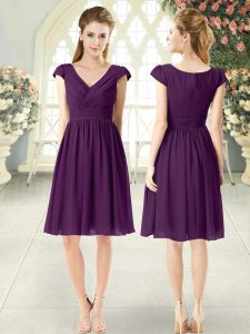Purple Cap Sleeves Knee Length Ruching Zipper Club Wear