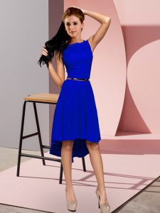 On Sale High Low A-line Sleeveless Blue Cocktail Dress Lace Up