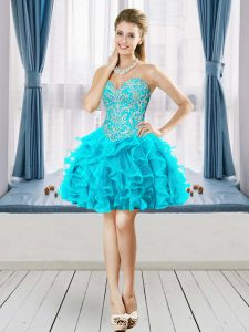 Captivating Aqua Blue A-line Sweetheart Sleeveless Tulle Mini Length Lace Up Beading Cocktail Dresses