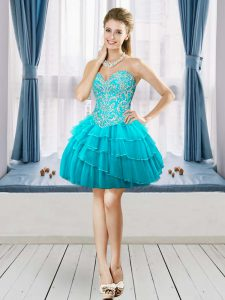 Aqua Blue A-line Sweetheart Sleeveless Tulle Mini Length Lace Up Beading and Ruffled Layers Cocktail Dress