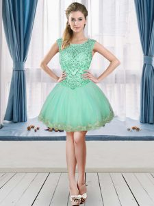 Apple Green Scoop Neckline Beading and Appliques Cocktail Dress Sleeveless Lace Up