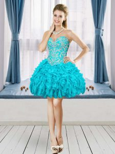 Sweetheart Sleeveless Cocktail Dress Mini Length Beading and Embroidery and Ruffles Aqua Blue Organza