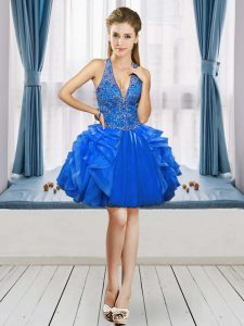 Fine Mini Length Ball Gowns Sleeveless Royal Blue Cocktail Dresses Lace Up