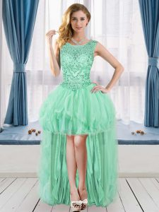 Captivating Sleeveless Tulle High Low Lace Up Cocktail Dresses in Apple Green with Beading