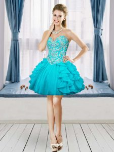 Aqua Blue Sweetheart Lace Up Beading and Embroidery and Ruffles Club Wear Sleeveless