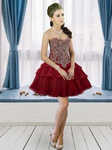 Lovely Mini Length Lace Up Cocktail Dresses Burgundy for Prom and Party with Beading and Ruffled Layers