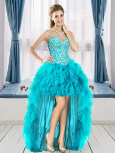 Elegant Aqua Blue Lace Up Cocktail Dress Beading and Ruffles Sleeveless High Low