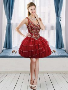 Wine Red A-line Tulle V-neck Sleeveless Beading and Ruffled Layers Mini Length Lace Up Cocktail Dresses