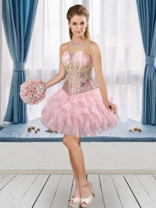 Baby Pink Cocktail Dress Prom and Party with Beading and Ruffles Sweetheart Sleeveless Lace Up