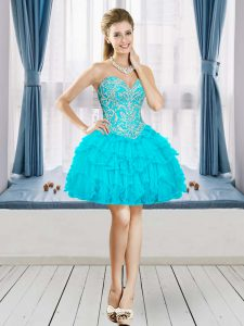 Aqua Blue Sleeveless Tulle Lace Up Club Wear for Prom and Party