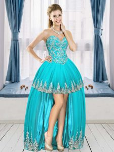 Sumptuous Aqua Blue Sweetheart Neckline Beading and Appliques Cocktail Dresses Sleeveless Lace Up
