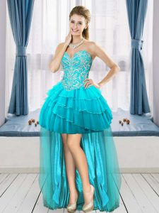 Nice Aqua Blue A-line Sweetheart Sleeveless Tulle High Low Lace Up Beading and Ruffled Layers Club Wear