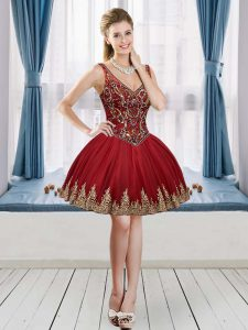 Best Selling Wine Red Ball Gowns Tulle V-neck Sleeveless Beading and Appliques Mini Length Lace Up Club Wear