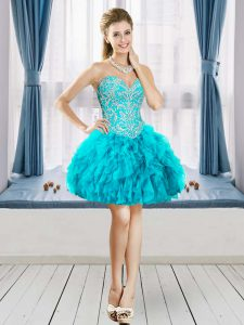 Flare Aqua Blue Lace Up Sweetheart Beading and Ruffles Club Wear Tulle Sleeveless