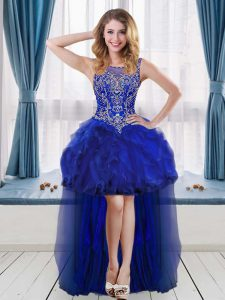Sleeveless High Low Beading and Ruffles Cocktail Dresses with Royal Blue