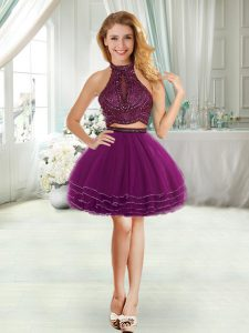 Sleeveless Mini Length Cocktail Dresses in Purple with Beading and Ruffled Layers