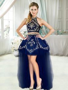Halter Top Sleeveless Cocktail Dresses Navy Blue Embroidery