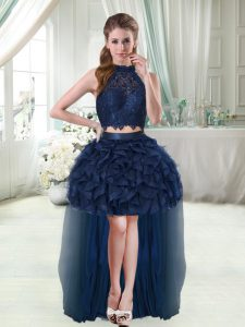 Simple Navy Blue Two Pieces Lace and Ruffles Club Wear Sleeveless High Low
