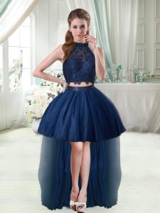 Free and Easy Halter Top Sleeveless Club Wear High Low Lace Navy Blue