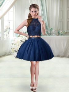 Captivating Navy Blue Two Pieces Lace Cocktail Dresses Sleeveless Mini Length