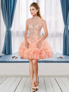 Halter Top Sleeveless Beading and Ruffles Cocktail Dress in Peach