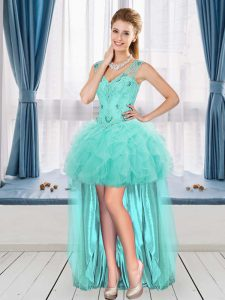 Aqua Blue A-line Beading and Ruffles Cocktail Dress Sleeveless High Low