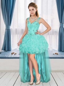 Fashionable Aqua Blue A-line Beading and Ruffles Cocktail Dress Sleeveless High Low