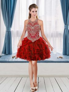 Red Halter Top Beading and Ruffles Club Wear Sleeveless