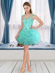 Modern Aqua Blue Ball Gowns V-neck Sleeveless Fabric With Rolling Flowers Mini Length Lace Up Beading Cocktail Dress