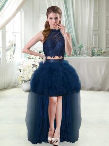 Flirting Navy Blue Halter Top Sleeveless High Low Club Wear Lace and Ruffles
