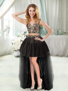 Low Price Beading and Appliques Cocktail Dress Black Zipper Sleeveless High Low