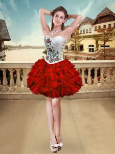 Customized White And Red Organza Lace Up Cocktail Dresses Sleeveless Mini Length Embroidery and Ruffles