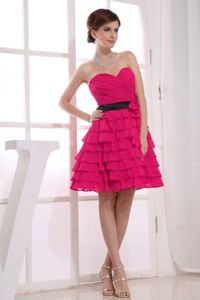 A-Line Ruffled Sweetheart Red Homecoming Cocktail Dresses
