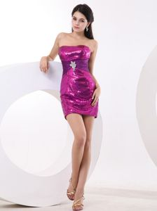Sequined Wedding Cocktail Party Dress in Fuchsia Mini-length