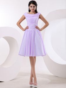 Bateau Homecoming Cocktail Dresses in Lavender with Ruches