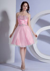 Beaded A-line Baby Pink Taffeta and Organza Prom Cocktail Dress