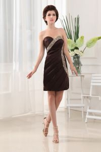 Beaded Sweetheart Taffeta Mini-length Cocktail Dresses in Brown