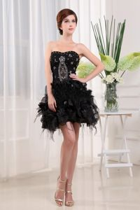 Strapless Black Tulle Mini-length Prom Cocktail Dress with Beading