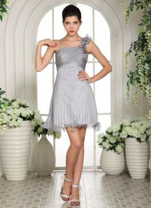 Grey One Shoulder Cocktail Dress For Prom with Ruches Organza