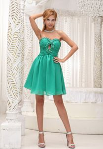 Ruched Beaded Chiffon Homecoming Cocktail Dresses in Green