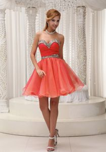 Ruched Leopard Orange Red Cocktail Dress For Prom Mini-length