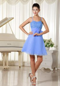 Beaded Blue Cocktail Dresses with Spaghetti Straps and Bowknot