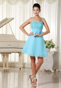 Aqua Blue Cocktail Dress For Celebrity with Beading and Bowknot